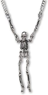 Gothic Skeleton with Moving Arms and Legs Silver Finish Pewter Pendant Necklace