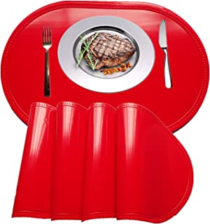 WANGCHAO Placemat, Plastic molding Faux Leather PVC Place mats Oval Smooth placemats Non-Slip Insulation Washable Table Mats (red, Set of 4)