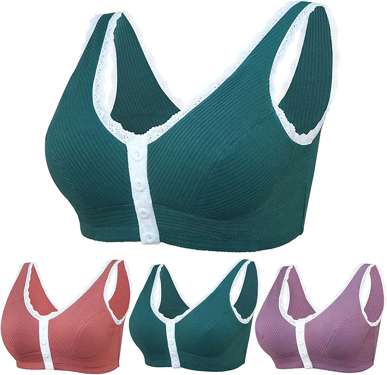 Lroveb Bra for Women Daily Comfortable Large Size Underwear No Steel Ring Lace Trim Bra Button Sports Bra