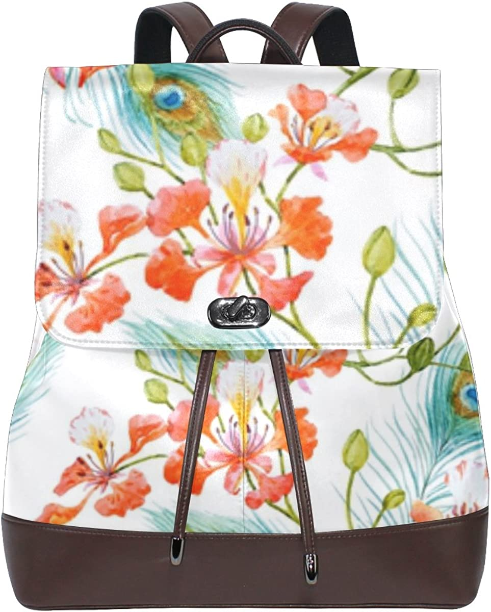 imobaby We OFFer at cheap trust prices Women's Peacock Pu Leather Backpack Casual Ladies Purse