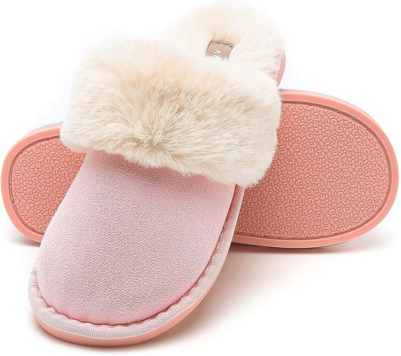 b5c8fd90ee5b6 Halemet Womens Slipper Memory Fluffy House Suede Fur Lined Anti-Skid ...