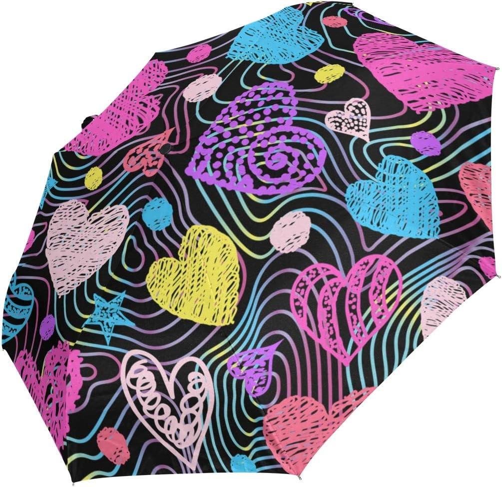 Mini Folding Las unisex Vegas Mall Umbrella Colorful Drawn Windproo Love Heart Pattern