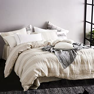 Lausonhouse Linen Duvet Cover Set, 100% French Linen Yarn Dyed Striped Duvet Cover with 2 Pillowshams - Full/Queen - Cream Stripe