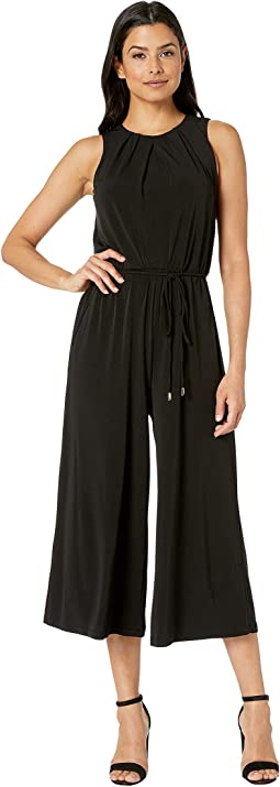 Flared Jumpsuit w/ Pleated Neck