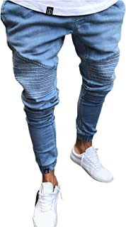 Legou Men's Slim Fit Destroyed Effect Jeans