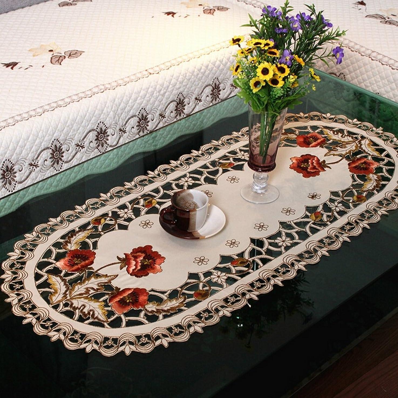 順番航空便上ファッションホーム- 刺繍入りバラの花柄 おしゃれ テーブルクロス 手作りカットワーク 楕円タイプ 薄手 ベージュ色 ティーテーブルクロス 40CMx85CM