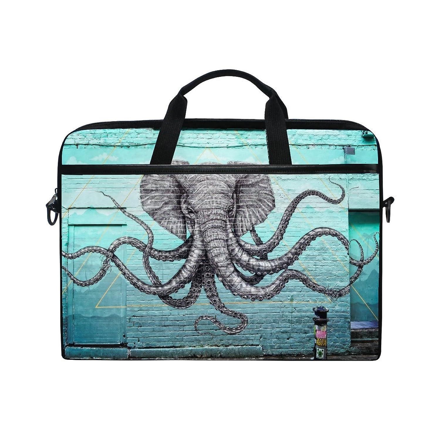Rh Studio Laptopbag Graffiti Elephant Octopus Laptop Shoulder Messenger Bag Case Sleeve for 14 Inch to 15.6 Inch with Adjustable Notebook Shoulder Strap