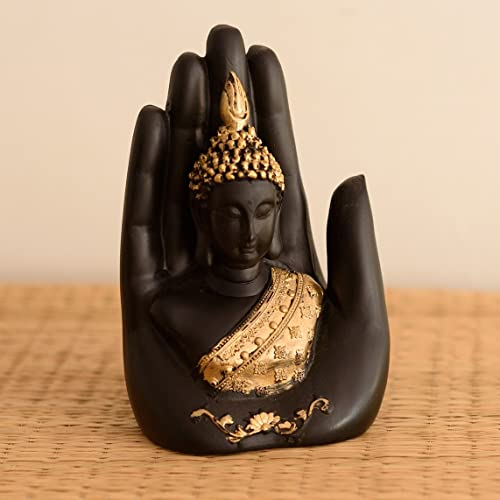 Ecraftindia Golden Handcrafted Palm Buddha Polyresin Showpiece (12.5 Cm X 7.5 Cm X 17.5 Cm, Black)