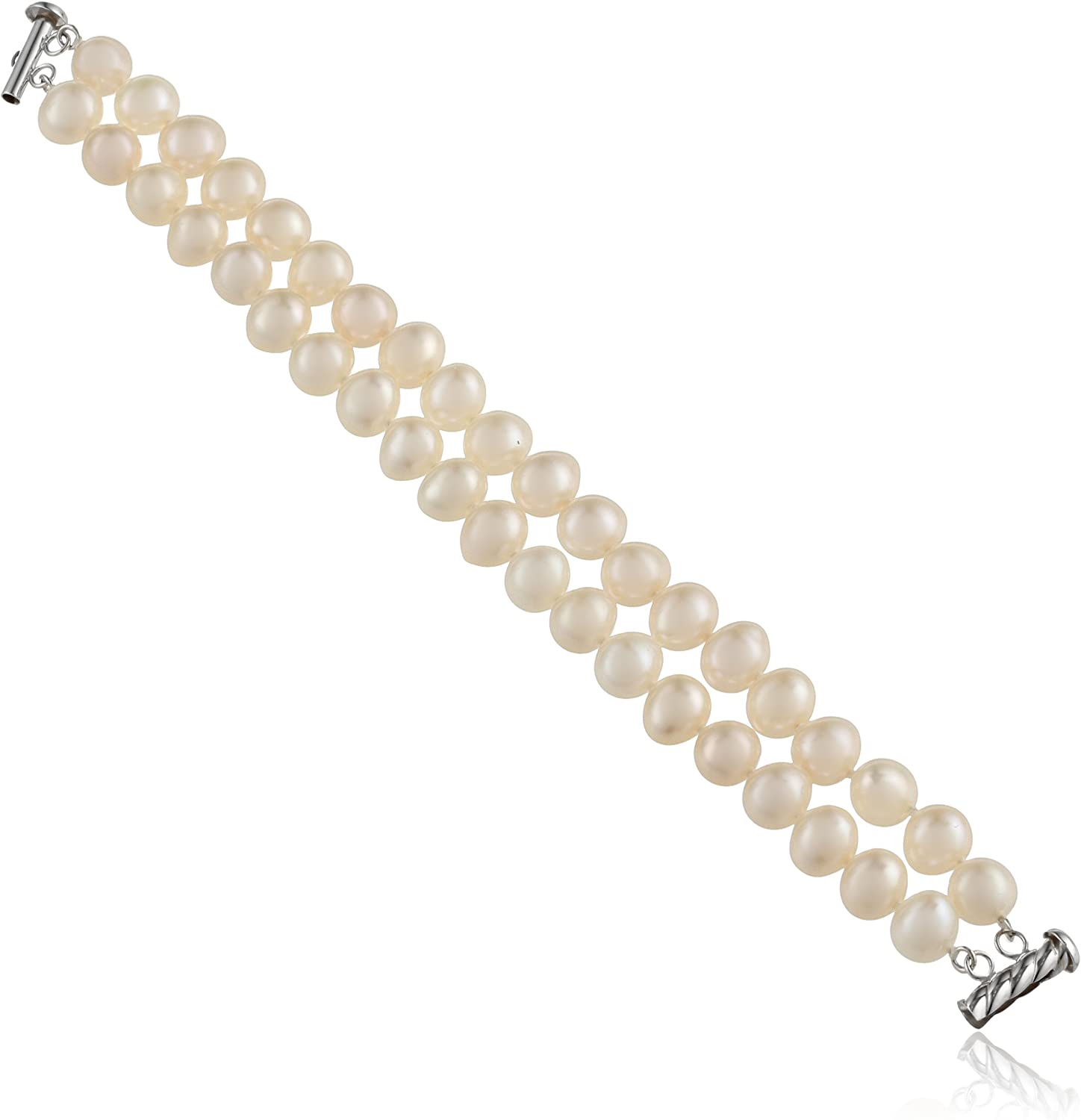Challenge the lowest price of Japan ☆ Sterling Silver 2-Row White Free shipping / New Freshwater Quality A Pearl Cultured