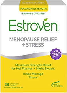 Estroven Max Strength Menopause Relief for Hot Flashes + Night Sweats - Stress Management Support - Black Cohosh, Green Te...