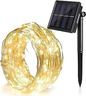 Ankway Cadena Luces Solares 8 Modes 12M 100 LED- Luces led Solar con Alambre de Cobre Duradero- IP65 Sensor de Luz Impermeable para Hogar Jardin Exterior Patio Valla Ventana Fiesta-Blanco calido