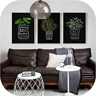 Framed Canvas Pictures Decor Kitchen Office Wall Potted Plant and Letters A4 Painting Art Printed Nordic Style Fashion Posters,28X36Cm No Frame,Asd569