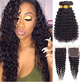 Brazilian Virgin Hair Deep Wave Bundles with Closure Pineapple Deep Wave Human Hair Deep Curly Bundles with Lace Closure (12 closure+14 16 18)
