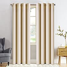 FAIRYLAND Blackout Curtains for Bedroom-Window Blackout Drapes for Living Room Triple Weave Treatment Thermal Insulated Solid Grommet(52 by 95 inch, Beige)