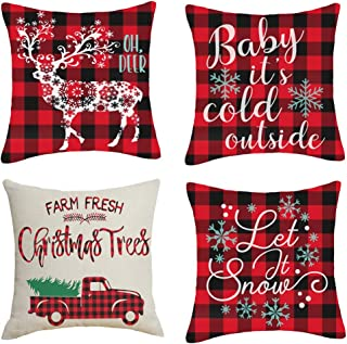 Artmag 20x20 Christmas Throw Pillow Covers, Decorative Outdoor Farmhouse Merry Christmas Xmas Christmas Tree Pillow Shams Cases Slipcovers Set of 4 for Couch Sofa