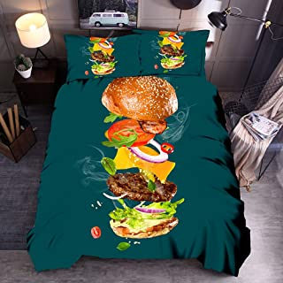 GFYL Duvet Cover Set,Burger Design 3D Bedding Set Print Gourmet Burger Personality Chicken Roll 3D Pillow Kit Bed Sheet and Duvet Cover Set Hypoallergenic,E,200x230cm(79x91inch)