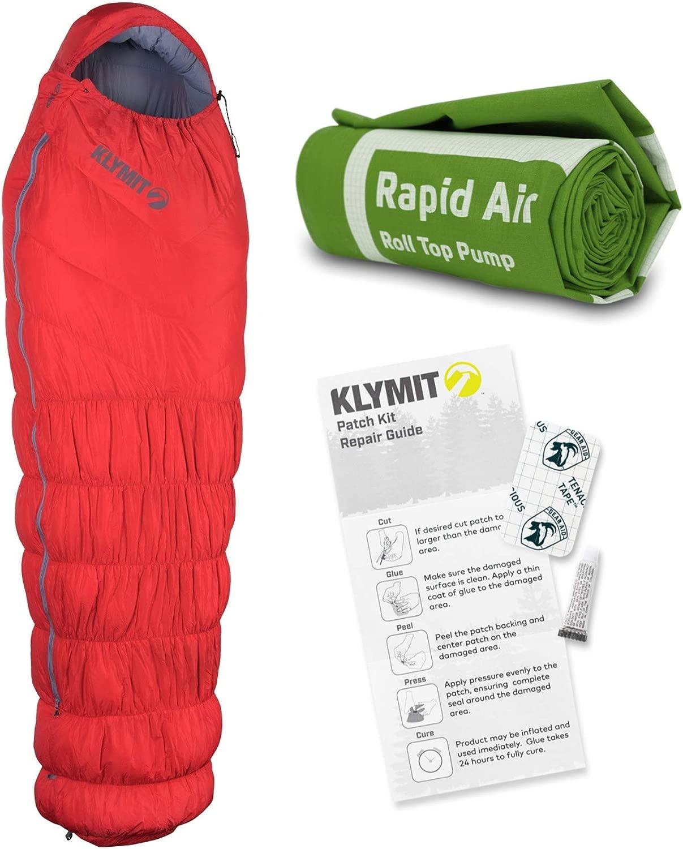 Klymit 20ダウン断熱スリーピングバッグ (レッド) キャンプアクセサリーバンドルアウトドアパッチキットと急速エアポンプ付き