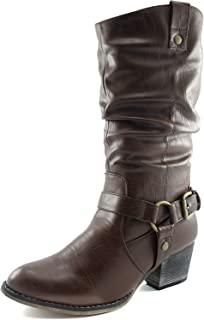 Women's Slouch Mid Calf Ankle Strap Buckle Western-01 Style Cowboy Boots