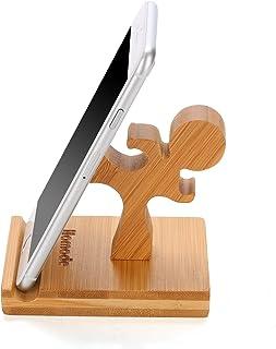 مسند جوال من هومود، حامل جوال خشبي من خشب الخيزران بتصميم لطيف متوافق مع جوال ايفون 11 برو اكس بلس 8 7 6 وايباد والتابلت، ...