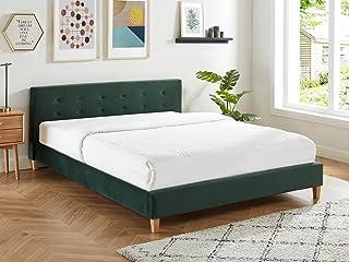 HOMIFAB Lit Adulte avec tête de lit capitonnée en Velours Vert Bouteille - sommier à Lattes 160x200cm - Collection Milo