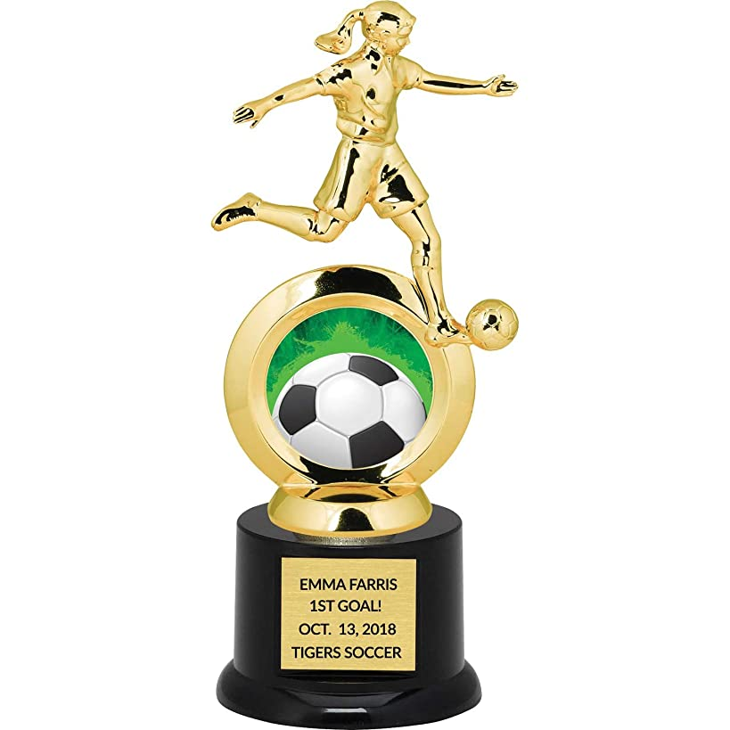 Girl's Soccer Trophy for Kids with Free Custom Engraving - 8.75 inch