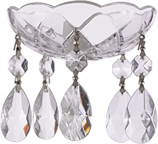 Set of 10-4-Inches, 5 Side Holes - Clear Asfour Crystal 30% Lead Crystal Chandelier Bobeche with Chrome Pinnig and Teardrop