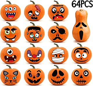 3omething New Halloween Pumpkin Stickers Decorations - Make Your Own Jack-O-Lantern Crafts- Trick or Treat Party Ornaments Supplies 64Ct