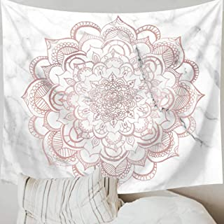 Indusleaf Psychedelic Mandala Pink Tapestry Wall Hanging - Bohemian Living Room Wall Decor for Women Girls, Boho Gray Marble Tapestry for Room (Pink, L(5979inch))