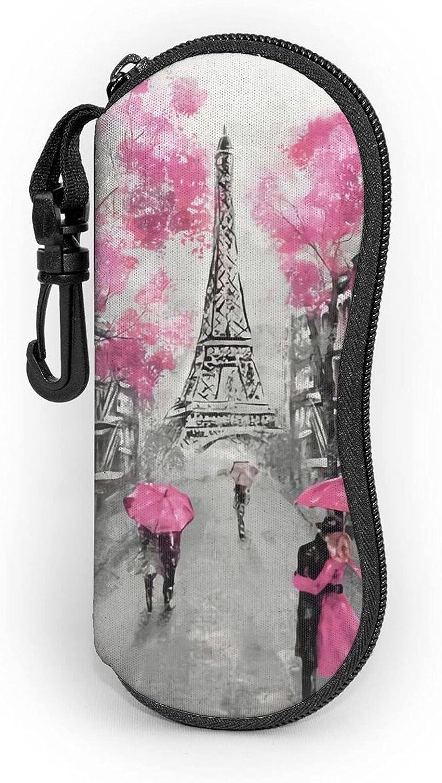 Art Paris Street Eiffel Tower Pink Floral Sunglasses Soft Case With Carabiner Zipper Ultra Light Portable Neoprene Waterproof Eyeglasses Cases For Men & Women