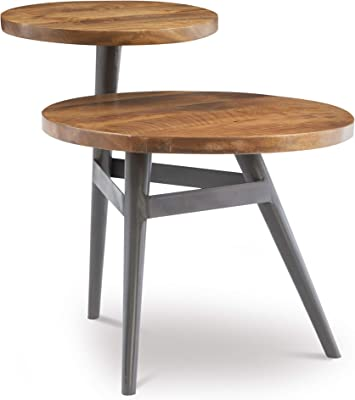 Powell Wood & Black Metal Two Tiered Side Bruno Table, Natural Wood
