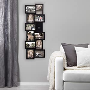 Jerry & Maggie - Photo Frame 32x12 PVC Picture Frame Selfie Gallery Collage Wall Hanging for 6x4 Photo - 12 Photo Sockets - Wall Mounting Design - Selfie 32