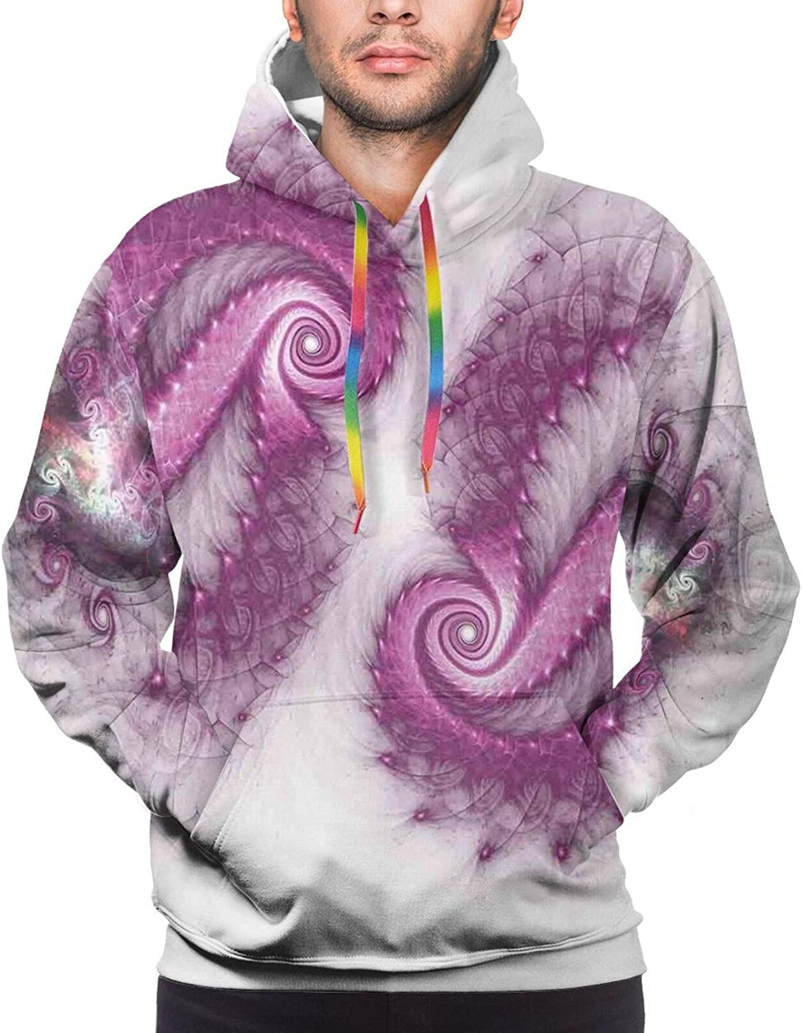 Men's Hoodies Sweatshirts,Psychedelic Complex Funky Pastel Patterns with Stars Back to 60s Style Retro Artsy