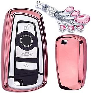 MODIPIM Keyless Entry Remote Cover Soft TPU Key Fob Case Diamond Tassel Keychain BMW 320li 3-Series 5-Series 1-Series 528 535 X3 X4 2/3-Buttons Smart Key Color Pink