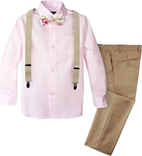 Spring Notion Boys' 4-Piece Suspender Outfit with Cotton Floral Bow Tie