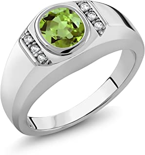 Gem Stone King 1.39 Ct Oval Green Peridot White Created Sapphire 925 Sterling Silver Men's Ring (Available 9,10,11,12,13)