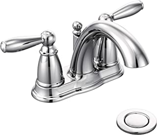 Moen 6610 Brantford Two-Handle Low-Arc Centerset Bathroom Faucet with Drain Assembly, Chrome