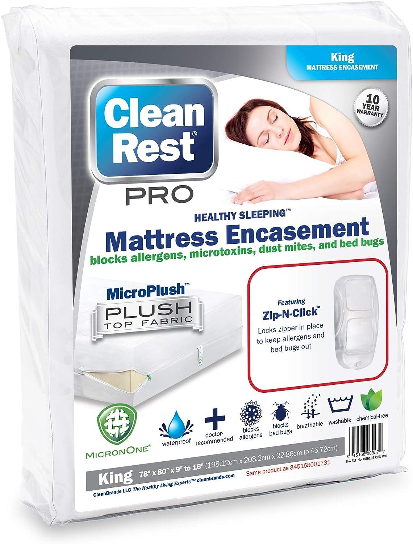 Clean Rest Pro Waterproof, Allergy and Bed Bug Blocking Mattress Encasement, King