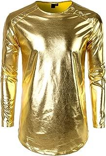 Men's Shirts Long Sleeves Metallic Casual Shirt O Neck Regular Fit Shirt Party Nightclub 4 Colors