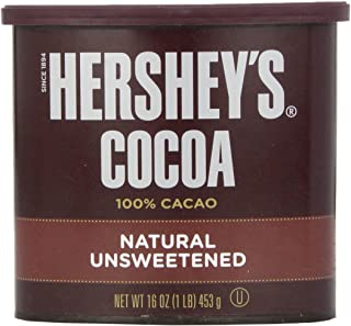 HERSHEY'S Natural Unsweetened 100% Cocoa, Baking/Beverage Gluten-Free, 16 Ounce Can (Pack of 3)