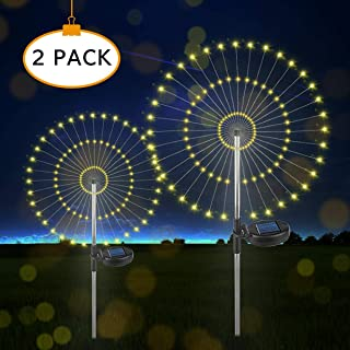 Solar Firework Light, Outdoor Garden Decorative Lights-105 LED Powered 35 Copper Wires, DIY Flowers Fireworks Stars for Walkway Pathway Backyard Christmas Party Decor (Warm White 2 Pack)