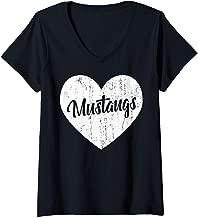 Womens Mustangs School Sports Fan Team Spirit Mascot Heart Gift V-Neck T-Shirt