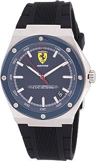 ساعة بسوار سيليكون اسود ومينا ازرق للرجال من فيراري - 830605
