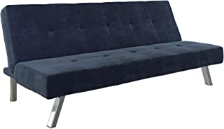 DHP Zorro Upholstered Futon Converts into Full Size Sleeper, Microfiber Blue