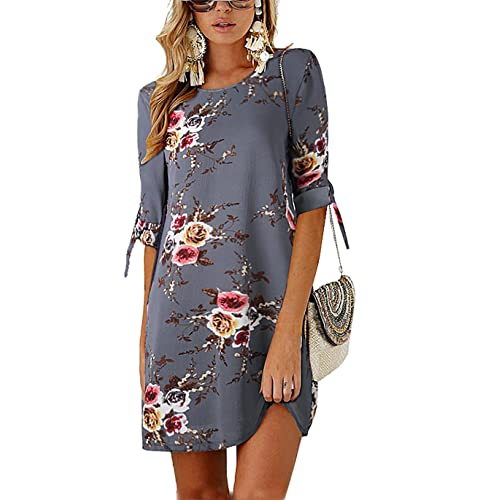 dfcdc611015b PRETTYGARDEN Women's Tie Sleeve Floral Print Swing Fit Crew Neck Casual  Chiffon Plus Size Tunic T