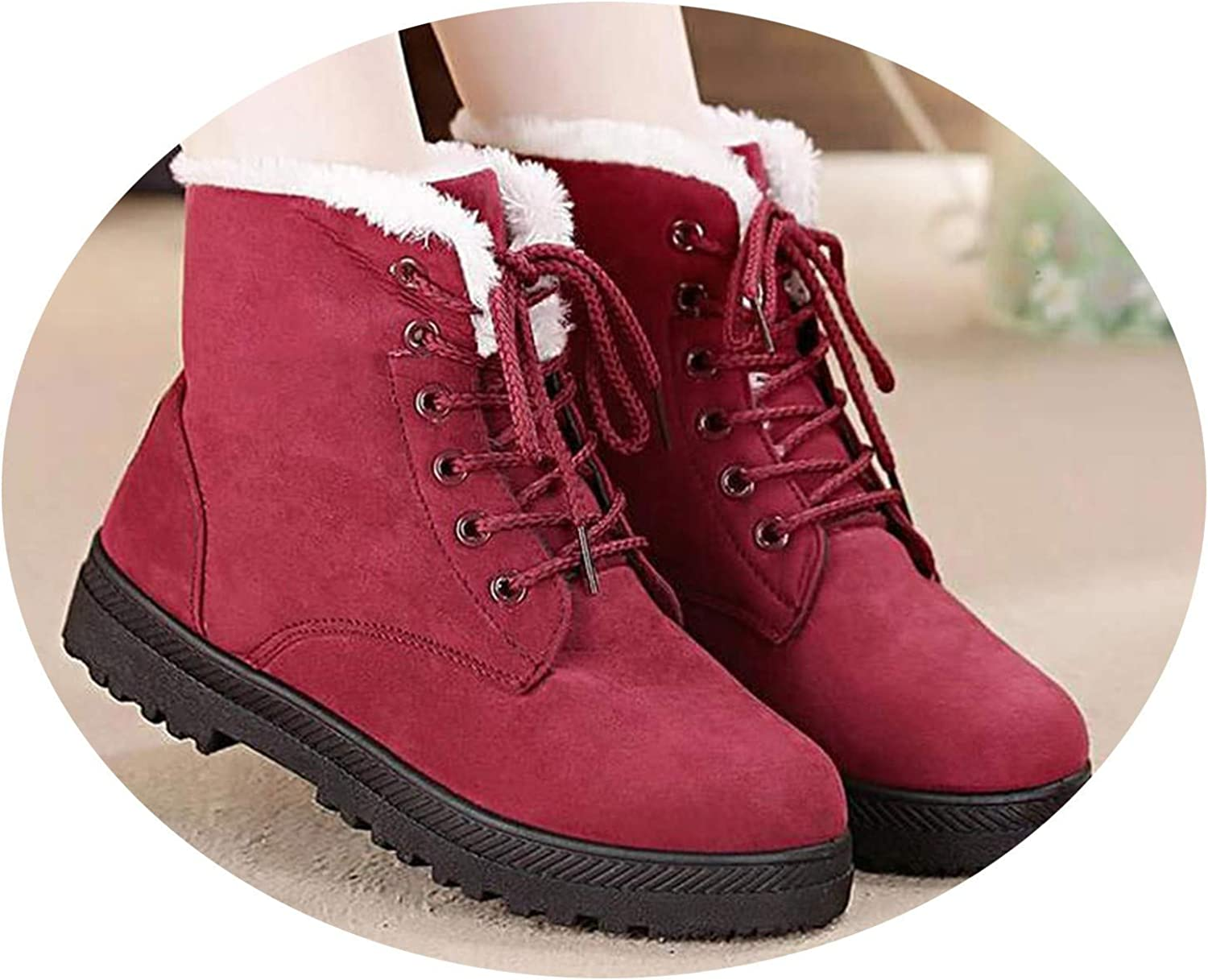 Snow Boots Classic Heels Suede Women Winter Warm Fur Plush Insole Ankle shoes,