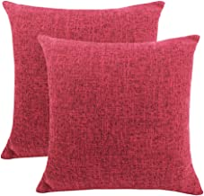 LINENLUX 2 Pack Burlap Decorative Pillow Covers Lined Linen Pillowcases Sham for Sofa Living Room (Wine Red, 18 x 18 Inch)