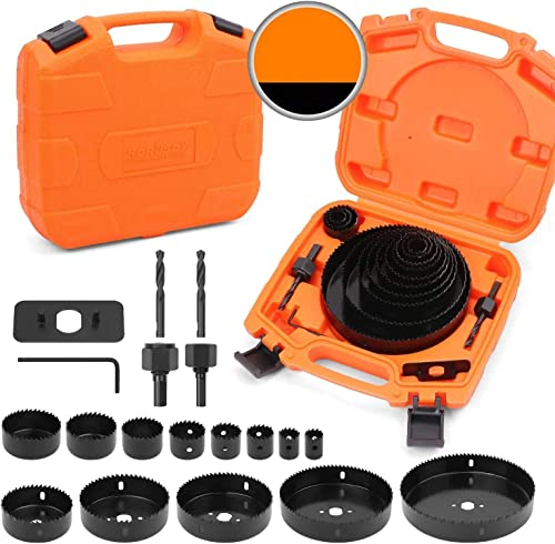 """discount HORUSDY Hole Saw Set, 19 online Pcs Hole Saw Kit with popular 13Pcs Saw Blades 6""""(152mm) - 3/4"""" (19mm), Ideal for Soft Wood, PVC Board and More. (Hole Saw Sets) sale"""