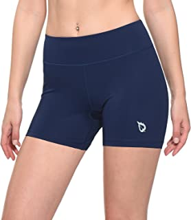 BALEAF Women's 4 Inches Compression Volleyball Shorts Training Workout Back Pocket