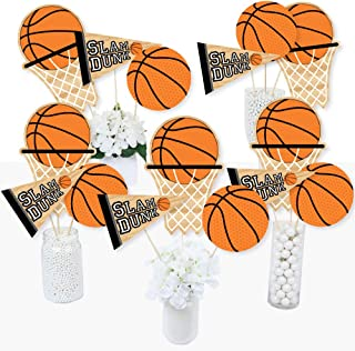 Big Dot of Happiness Nothin' but Net - Basketball - Baby Shower or Birthday Party Centerpiece Sticks - Table Toppers - Set of 15