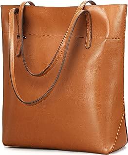Vintage Genuine Leather Tote Shoulder Bag With Adjustable Handles